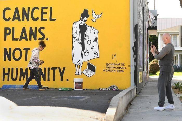 Kunstwerk buitenmuur: Zeg afspraken af, niet de menselijkheid