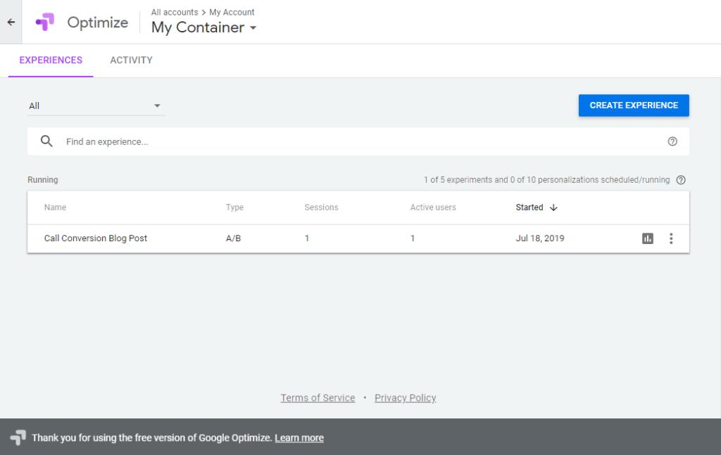 Google Optimize Call Conversion Blog Post