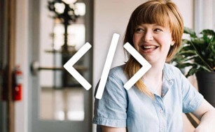 Code icon over woman smiling