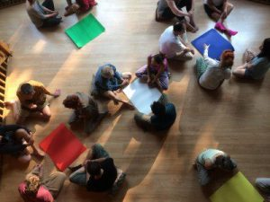 workshop activity sitting on the floor