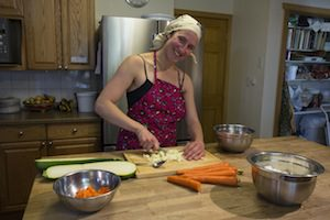 Karma Yoga activity - chopping vegetables in the kitchen