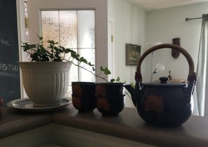oriental teapot and cups