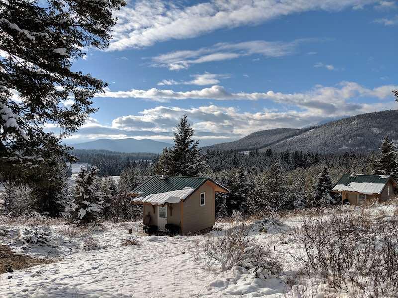 Mountain cabin in winter
