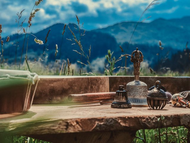 Buddhist implements with mountain background