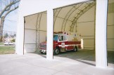 3 door bay for ambulance in a white fabric structure