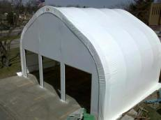 3 door bay for firetrucks in a white fabric structure