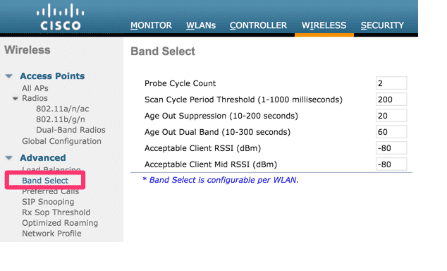 Band Select settings from the Advanced menu.