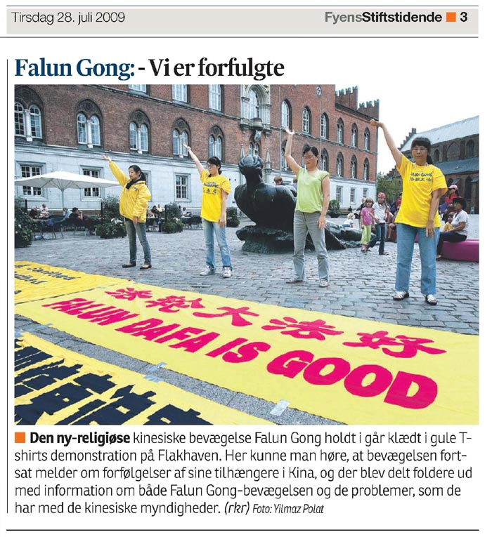 Fyens Stiftstidende, published a photo report on the persecution of Falun Gong by the CCP