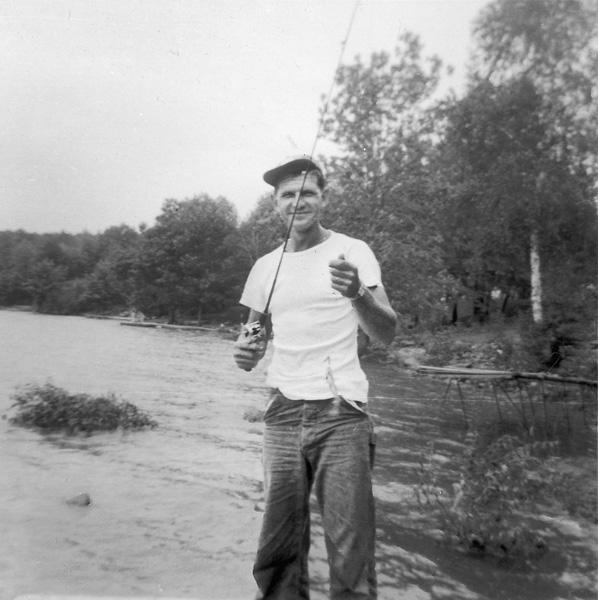 Joe Pinder (my uncle) fishing in the Poconos, c. 1955.