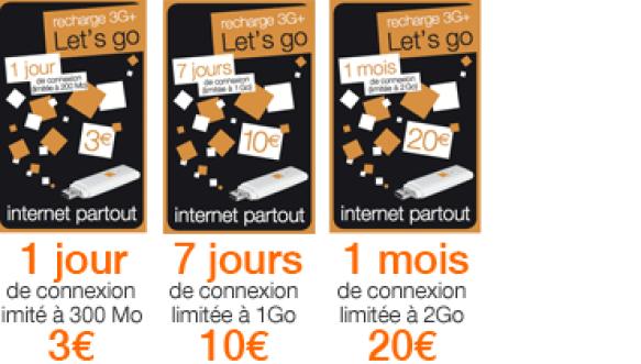 recharge de crédits Les cartes 3G+ prépayées