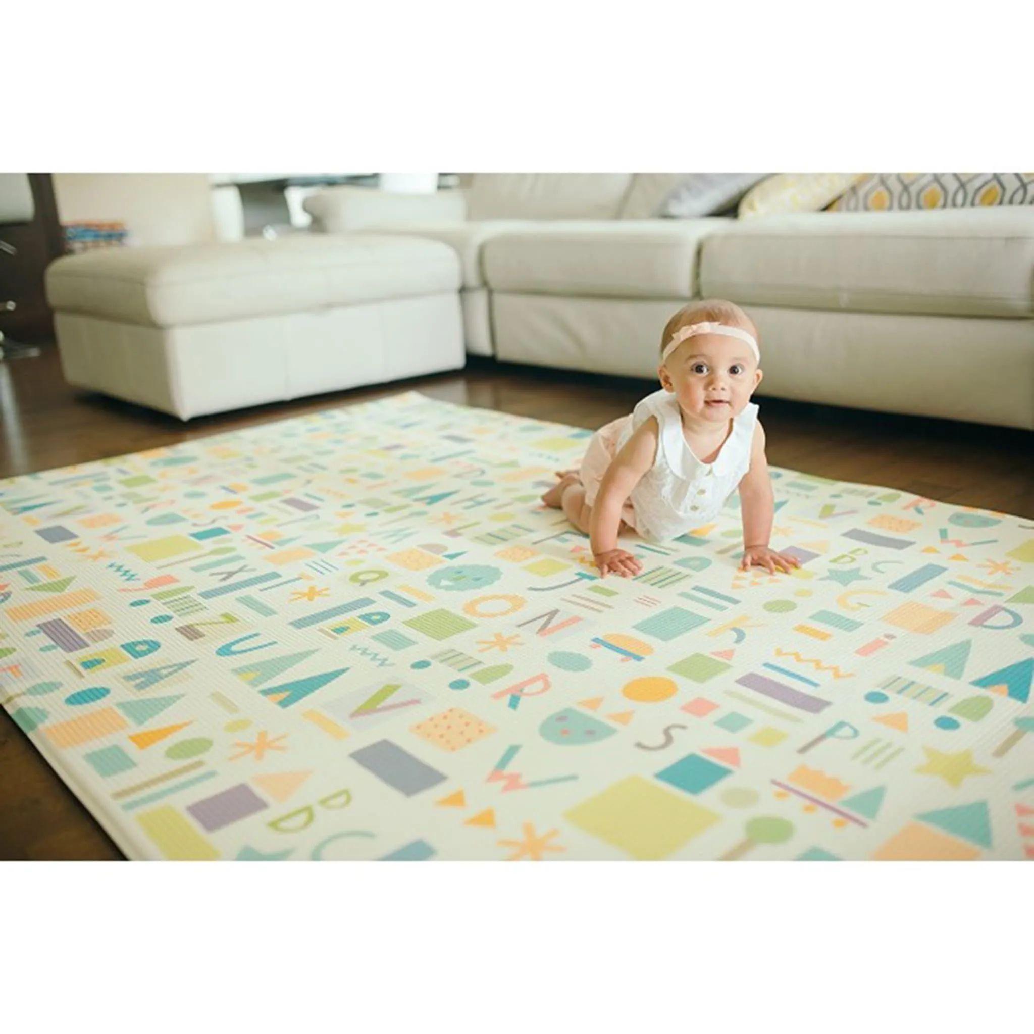 tapis de jeux reversible moyen sea petales gris baby care clement