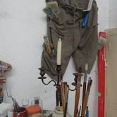 Un coin de l'atelier chez Clément Baeyens
