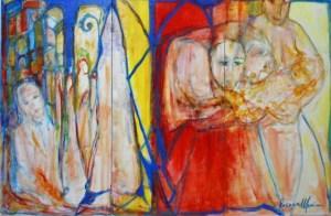 La vita, la cura, la preghiera, trilogia dell'amore - Acrilico su tela -Mis.80x120, 2018