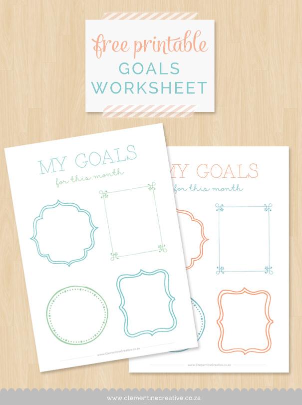 Goal Setting Worksheet Free Printable