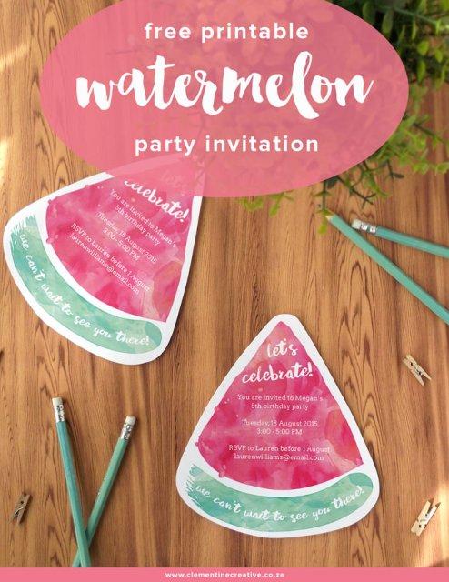 free printable watermelon party invitations
