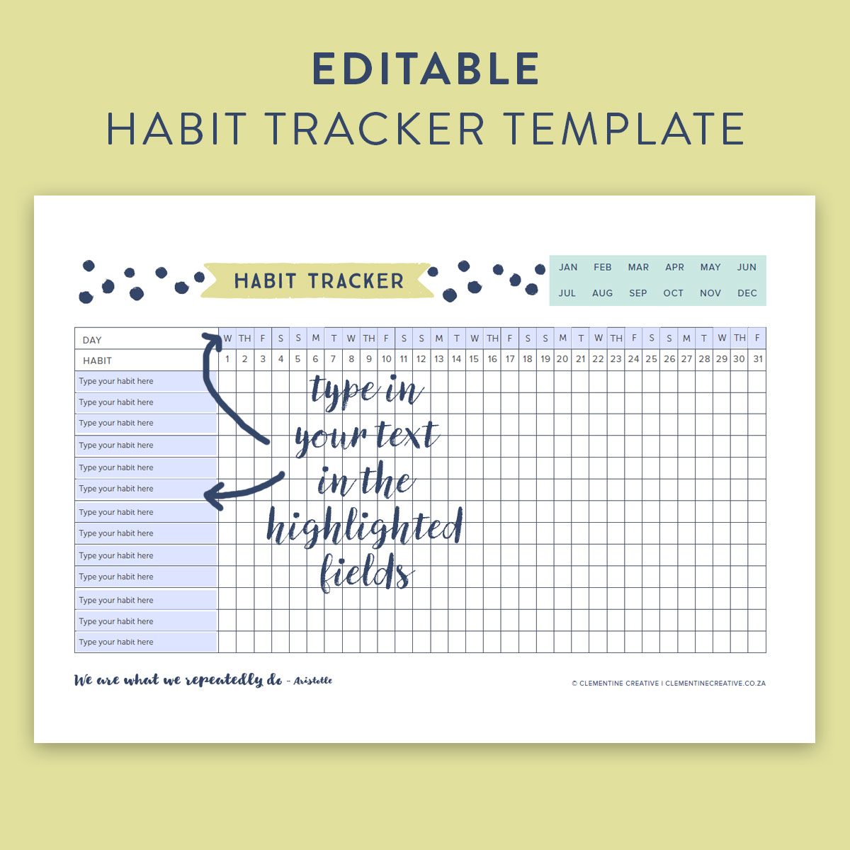 This Free Printable Habit Tracker Will Help You Reach Your