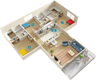 3 Bed / 3 Bath / 1,264 sq ft / Deposit: $0 / Rent: $499 per bedroom