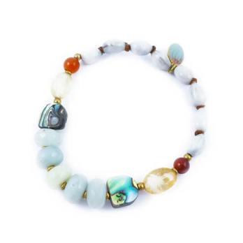 Bracelet élastique Coquillage, Cornaline, Citrine, Nacre et Aigue Marine