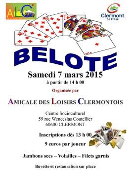 Belote - Amicale des Loisirs Clermontois, samedi 7 mars - Clermont (Oise)