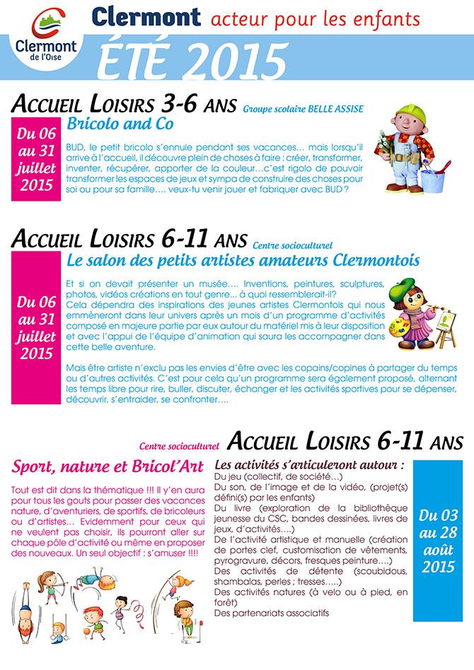 ALSH 3 - 11 ans : vacances d'été 2015 - Clermont Oise