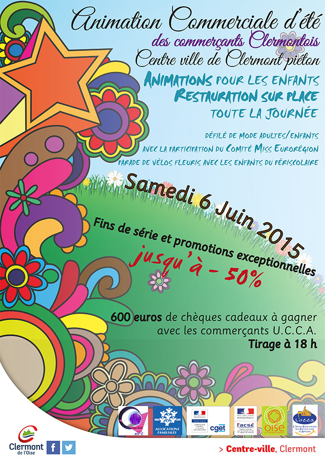 Animation Commerciale d'été 2015 des commerçants Clermontois, samedi 6 juin 2015 - Clermont Oise