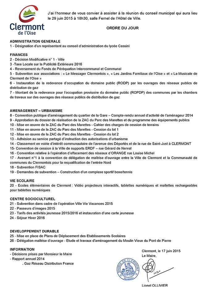 Conseil Municipal du 29 juin 2015 - Clermont Oise