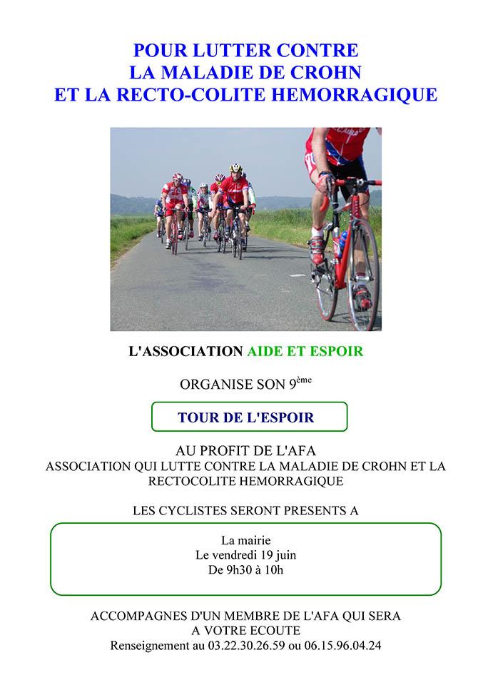 Tour de l'espoir 2015 au profit de la recherche pour la maladie de CROHN et de la Recto-colite Hémorragique - Clermont Oise