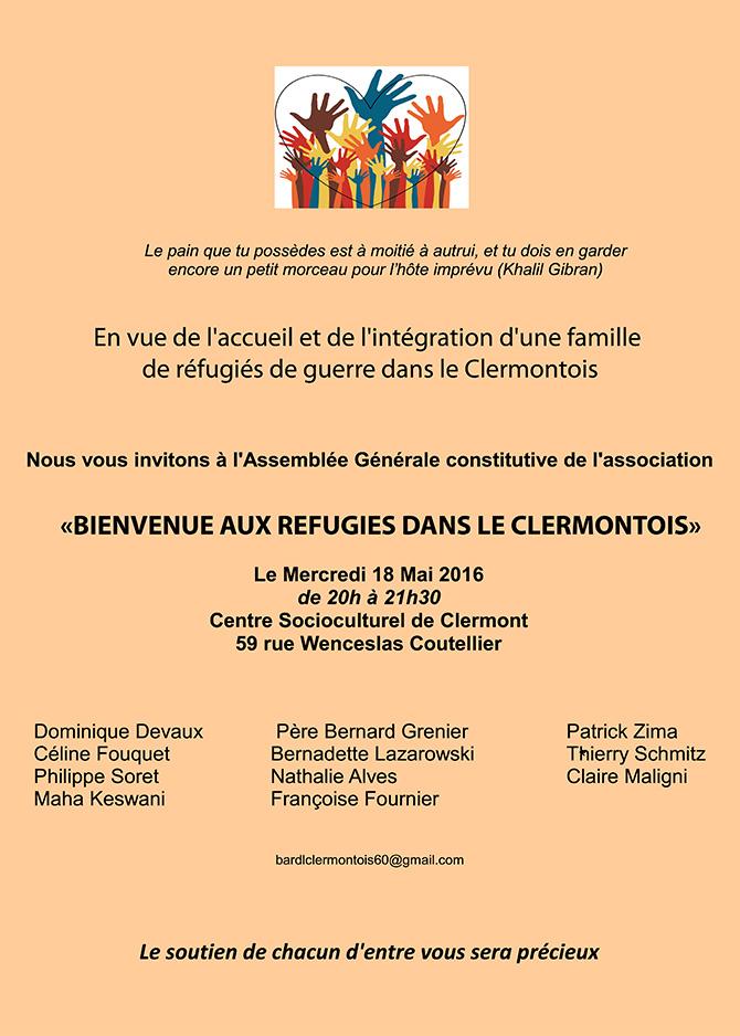 Assemblée Générale constitutive de l'association Bienvenue aux réfugies dans le Clermontois