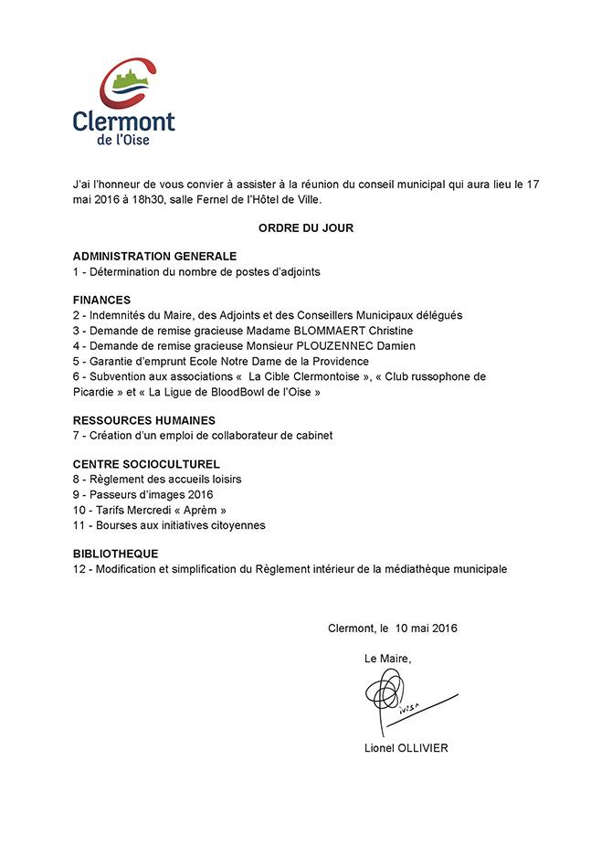 Conseil Municipal du mardi 17 mai 2016 Ordre du jour