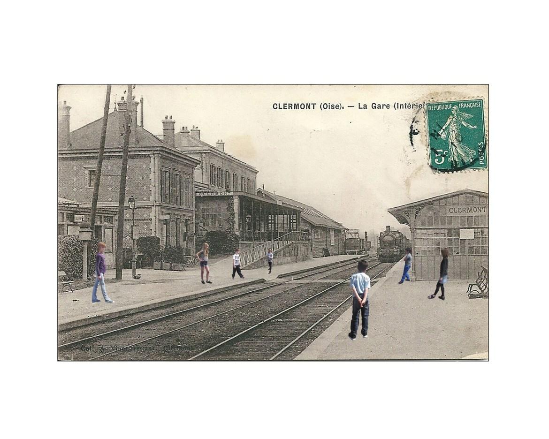 clermont gare carte postale-01 PVC 40x50