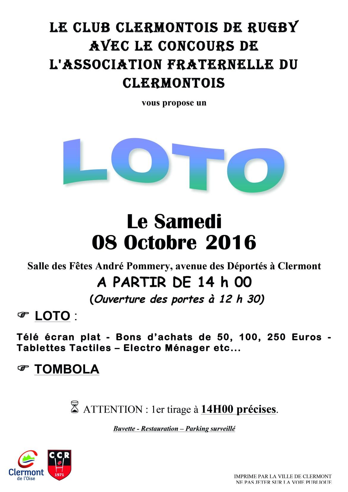 Loto du Club Clermontois de Rugby avec le concours de l'association Fraternelle du Clermontois, samedi 08 octobre 2016