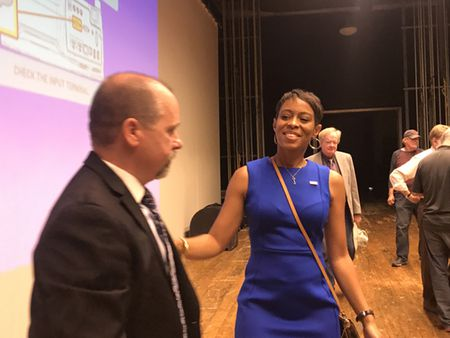 Cuyahoga County Councilwoman Shontel Brown in August 2017 became the first Black and woman chairman of the Cuyahoga County Democratic Party, shown with Trevor Elkins, who lost the race.