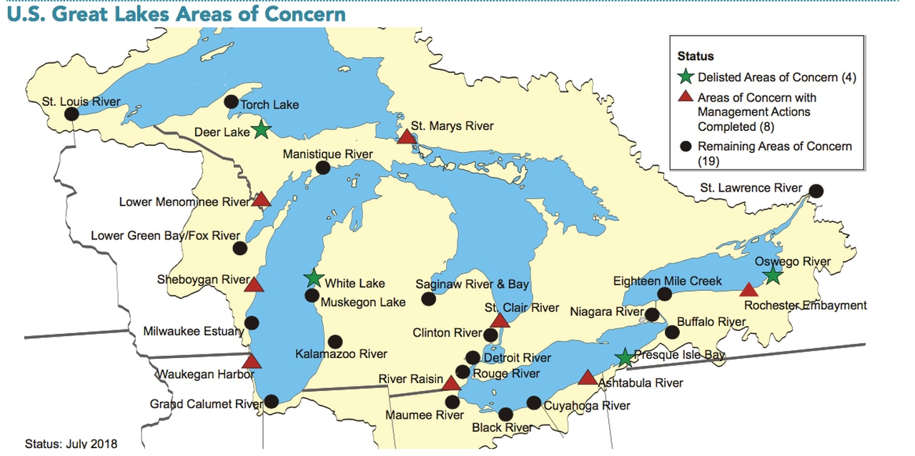 This map shows lakes, cities, towns, states, rivers, main roads and secondary roads in great lakes area. Read The Environmental Protection Agency S Five Year Plan To Restore The Great Lakes Cleveland Com