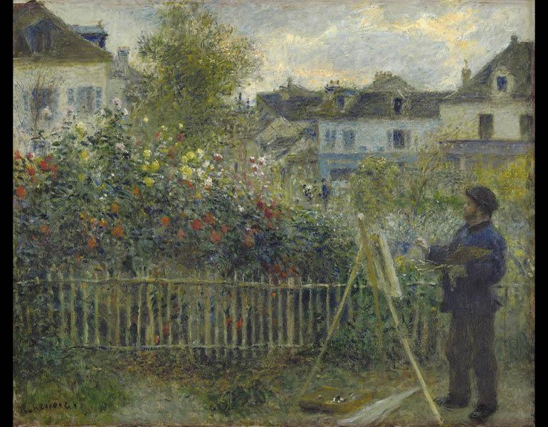 Monet Painting in His Garden at Argenteuil, 1873. Pierre-Auguste Renoir (French, 1841–1919). Oil on canvas; 46.7 x 59.7 cm. Wadsworth Atheneum Museum of Art, Hartford, CT, Bequest of Anne Parrish Titzell 1957.614. Photo: Allen Phillips/Wadsworth Atheneum.