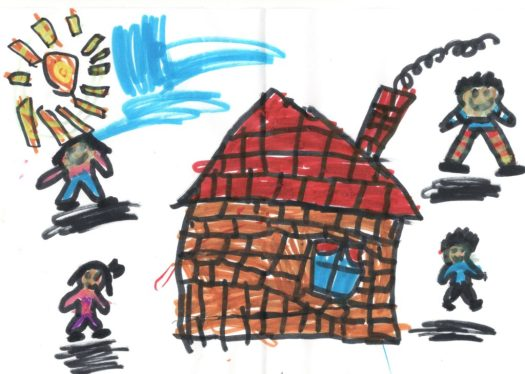 Child's drawing of a house and family