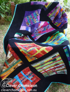 Improvisational quilt That's Pants by Dione Gardner-Stephen