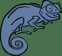 clever chameleon logo in blue