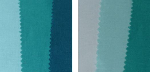 Teal fabrics showing a range of values.