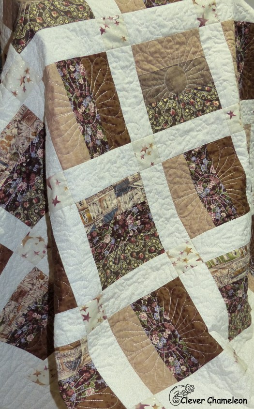 Finished daisy motif quilt