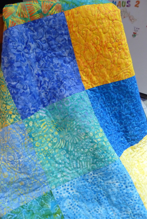 Quilt back in Digging for Pineapples colors