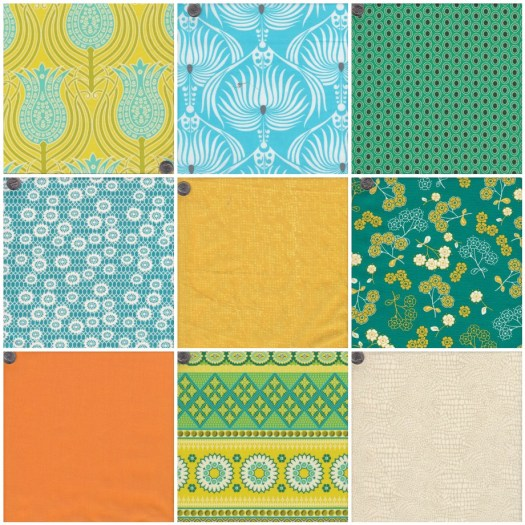 fabrics for Digging for Pineapples color scheme