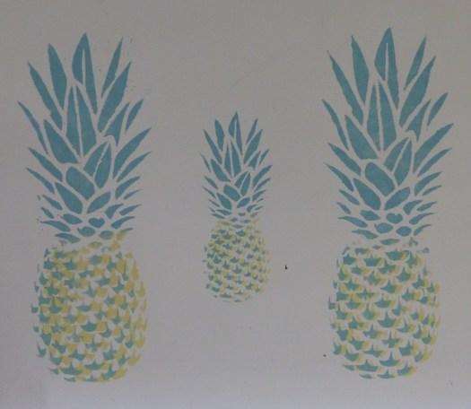 pineapple stencils on wall