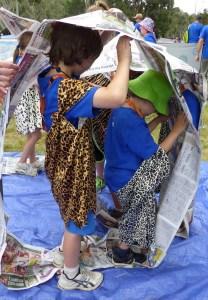 Kids in a paper wheel
