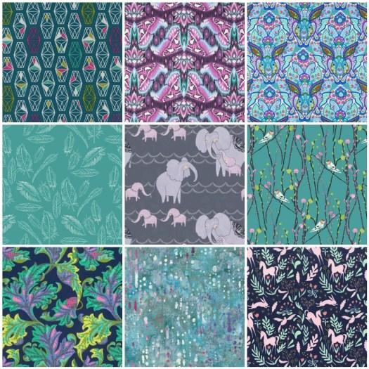 Teal Magic fabric mosaic