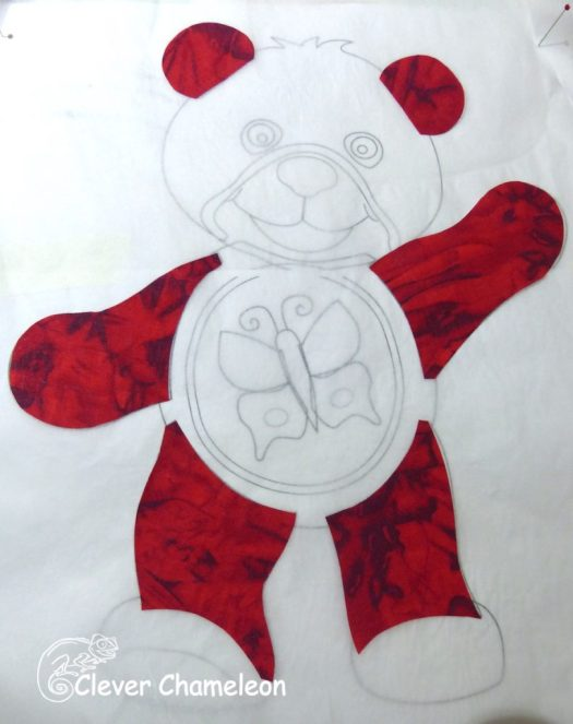 red bear appliqué first layer