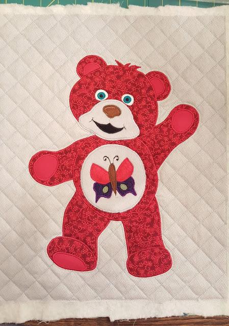Lynette's red bear fromt he Beary Colourful BOM