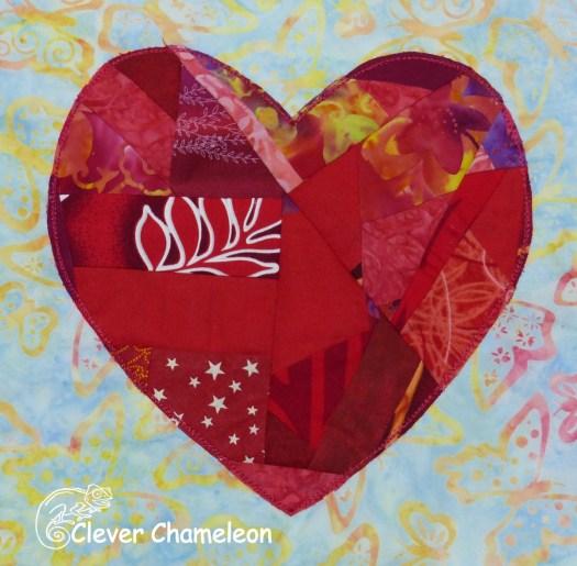 Valentine's Heart scrappy quilt block