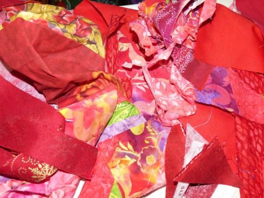 red fabric scraps