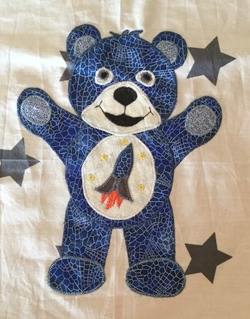 Blue bear appliqué