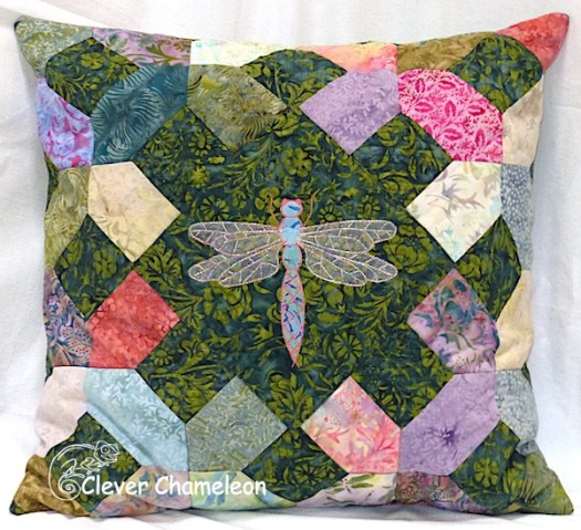 Dragonfly appliqué pillow by Dione of Clever Chameleon